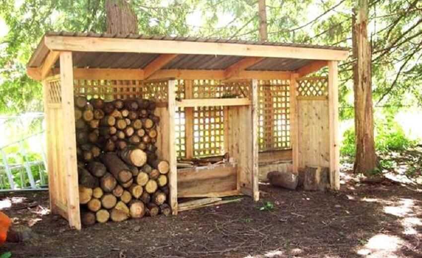 Как сделать навес для дров своими руками