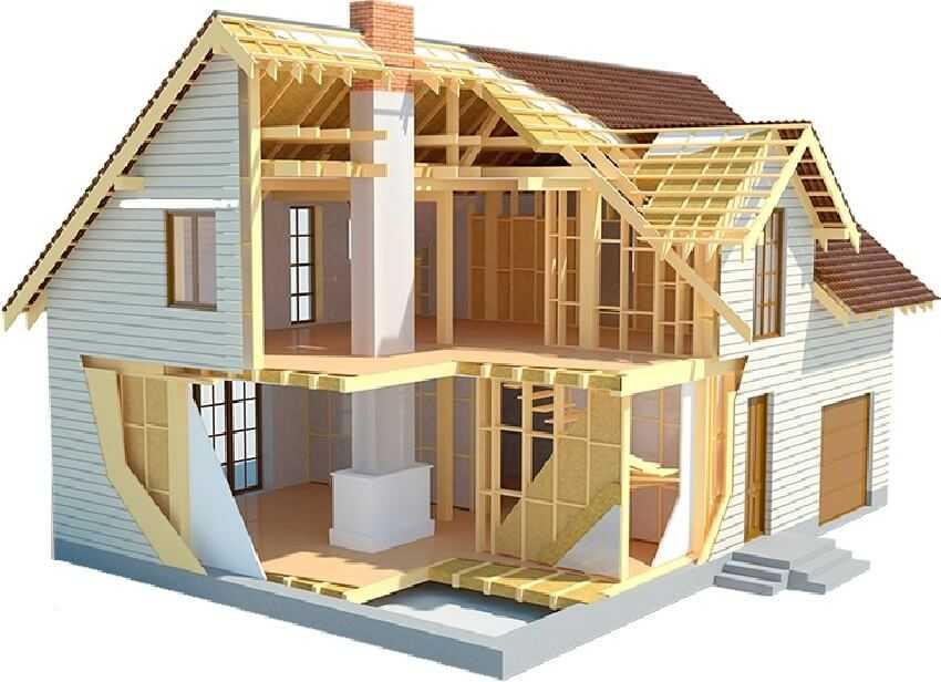 Сооружение каркасного деревянного дома