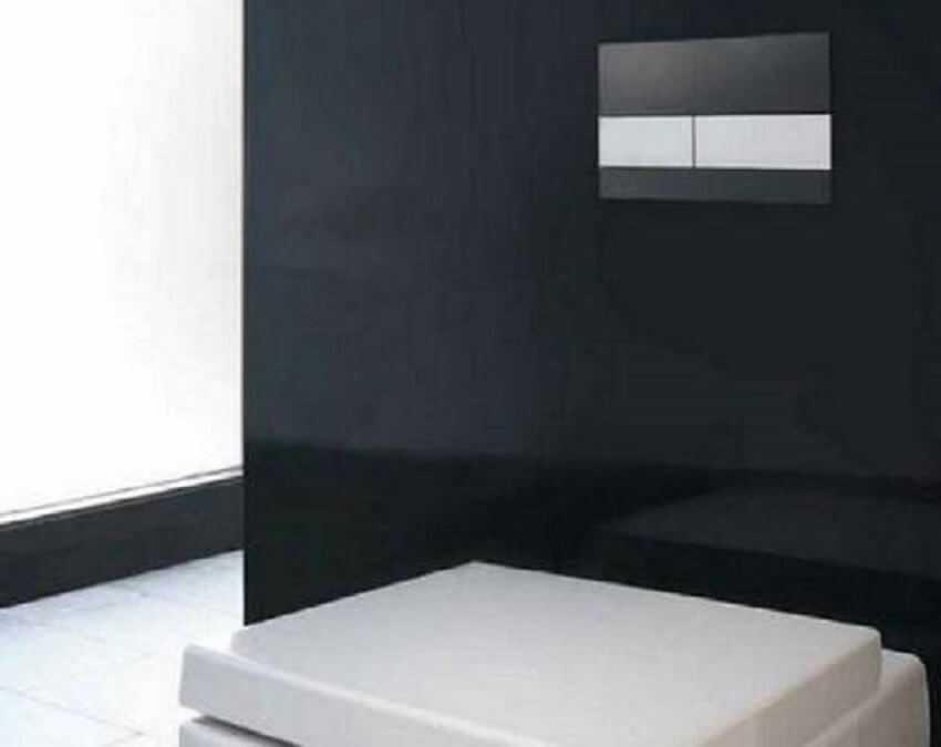 Установка инсталляции унитаза – Кнопка смыва в форме пластиковой панели