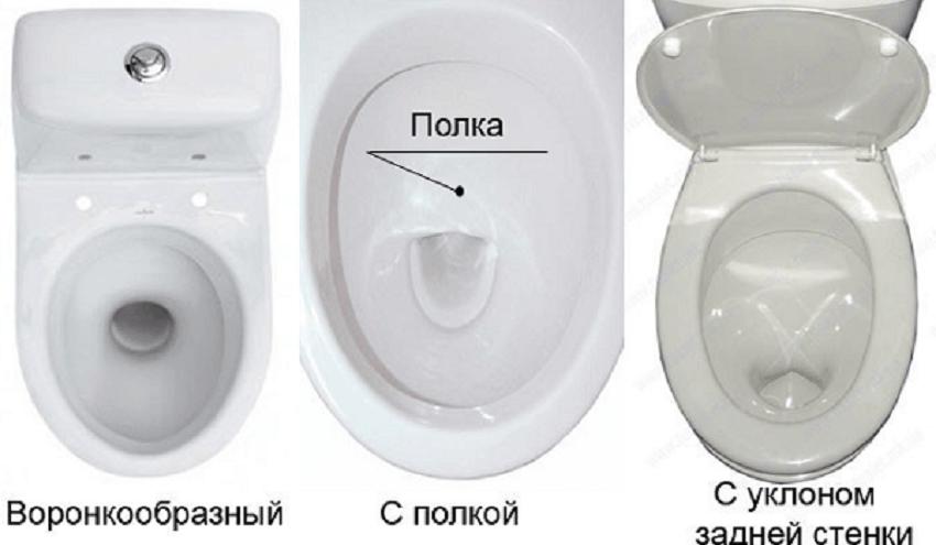 Три вида чаш унитаза