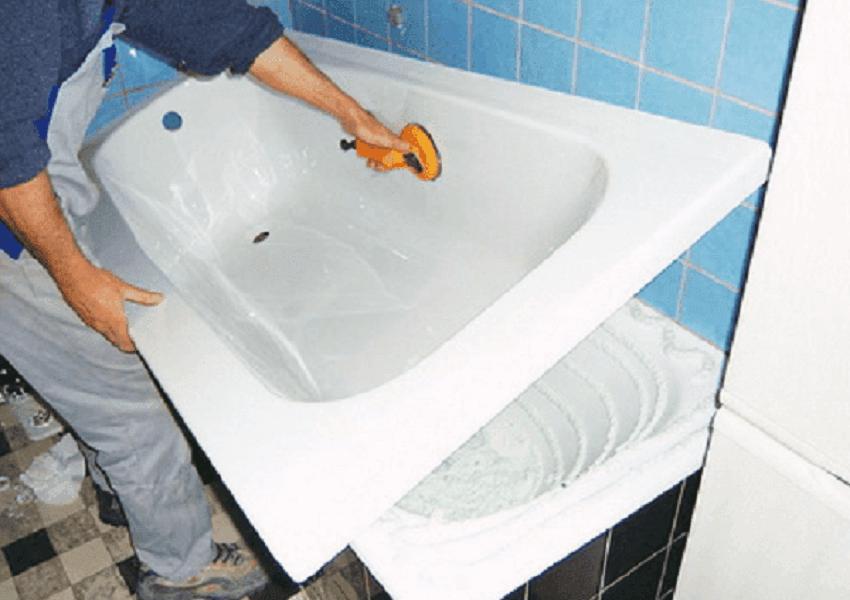 Восстановление чугунной ванны с помощью акрила