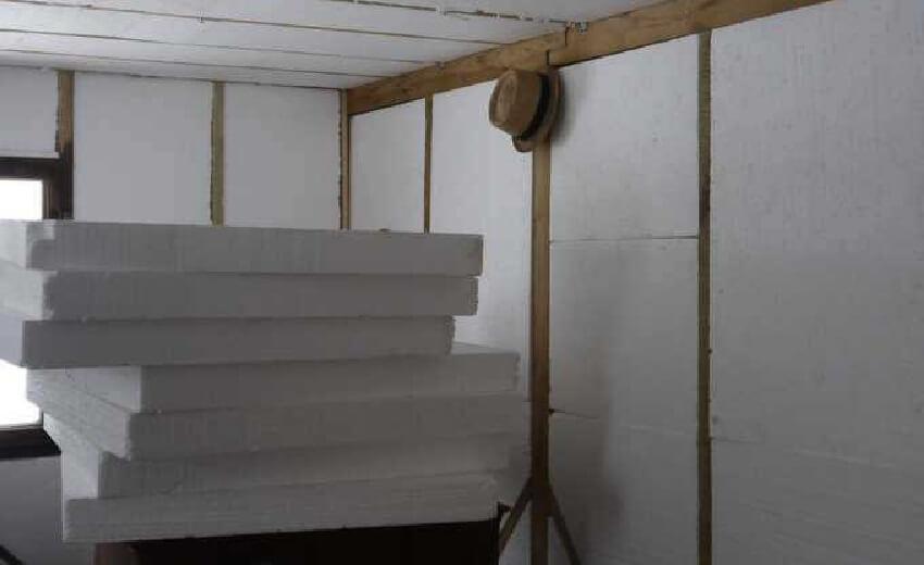 Утепление стен пенопластом внутри помещения