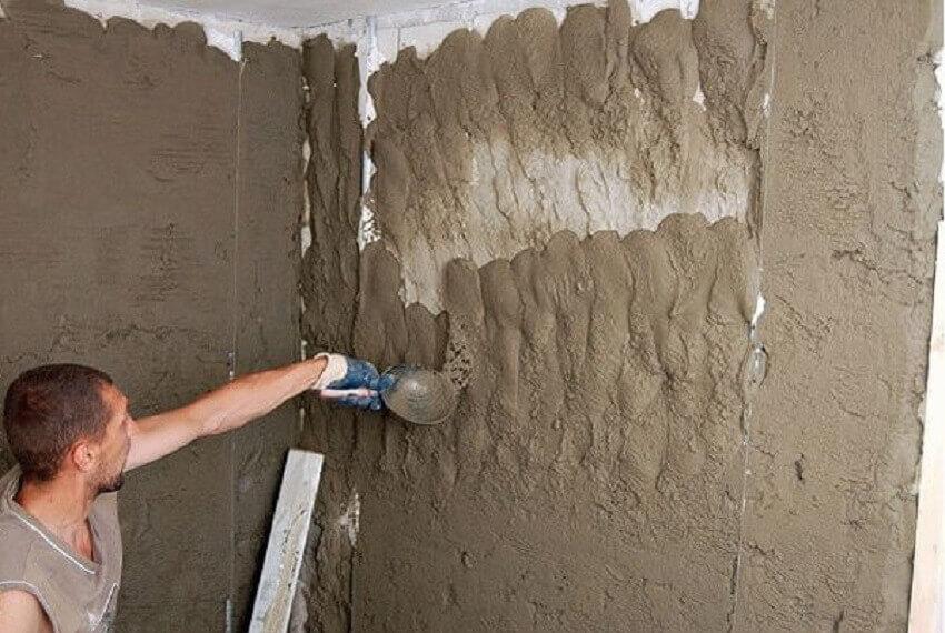 Штукатурка стен по маякам ‒ Набрызг-нашлеп раствором