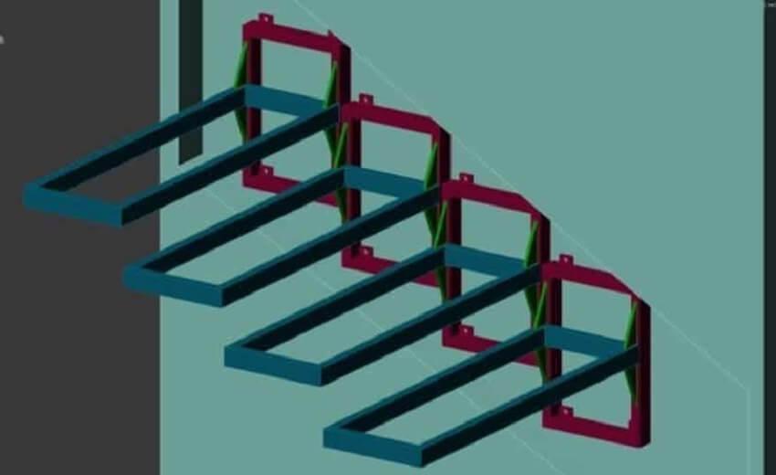 Деревянные ступени для лестницы ‒ Консольный вид крепления