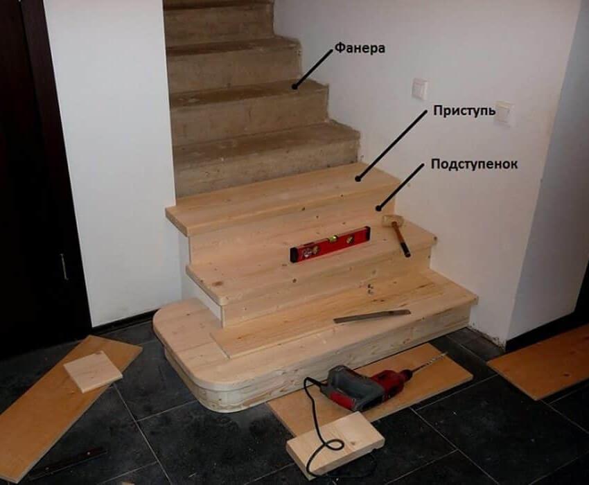 Крепление ступеней к фанере