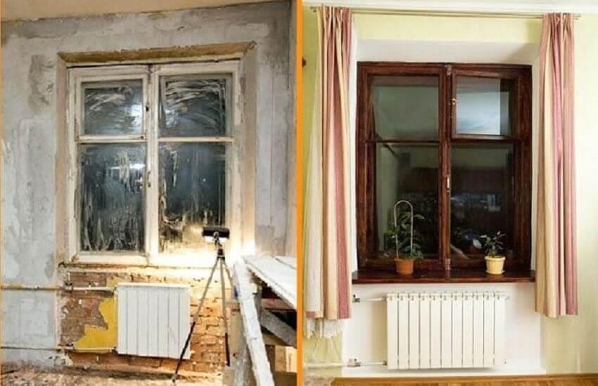 Вид окна до и после восстановления