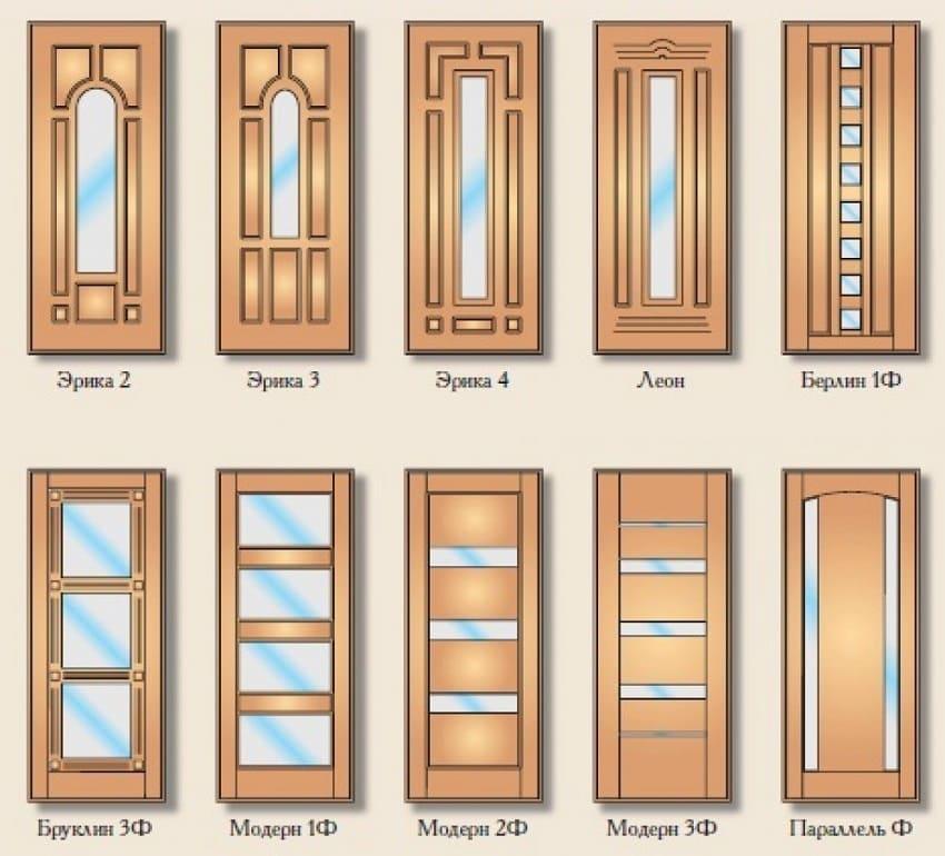 Дверные панели с элементами зеркала или стекла