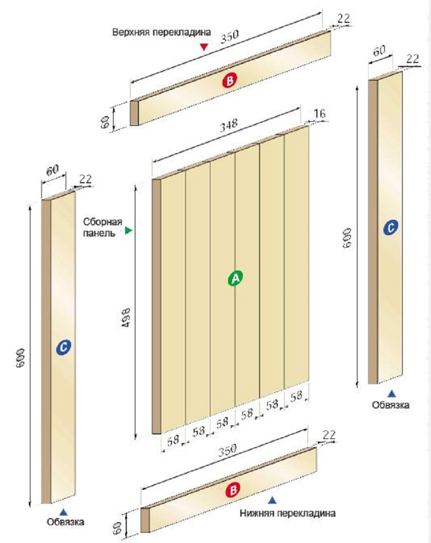 Схема сборки двери из массива